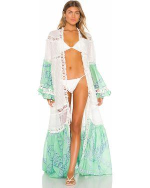 Biały długa kurtka bawełniany koronkowy Chio