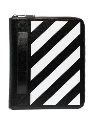 Кожаная черная сумка в полоску Off-white
