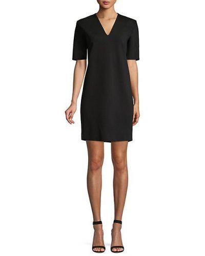 С рукавами черное платье мини с V-образным вырезом Escada