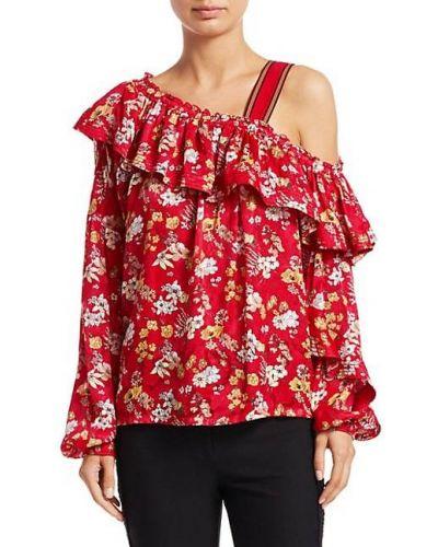 Шелковая блузка с длинными рукавами с декольте Derek Lam