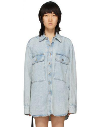 Niebieski z rękawami koszula jeansowa z kieszeniami z kołnierzem Unravel