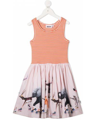 Оранжевое плиссированное платье с вырезом круглое Molo