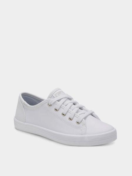Кожаные белые низкие кеды Keds