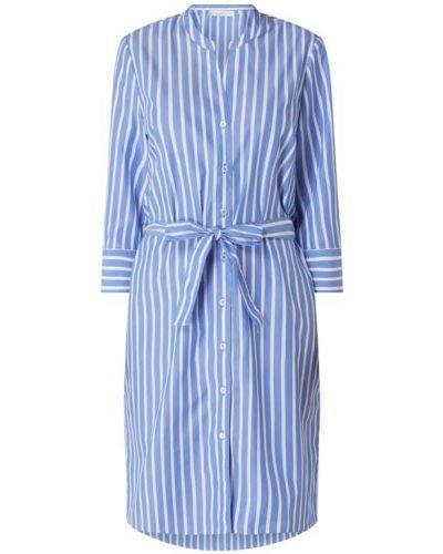 Niebieska sukienka koszulowa w paski zapinane na guziki Eterna