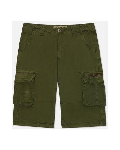 Зеленые хлопковые шорты карго Alpha Industries