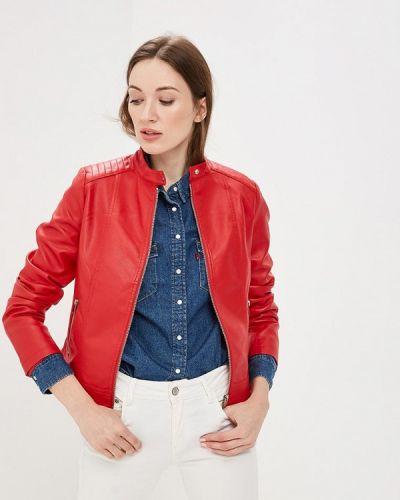 Кожаная куртка весенняя красный Softy