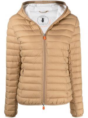 С рукавами коричневая длинная куртка с капюшоном Save The Duck