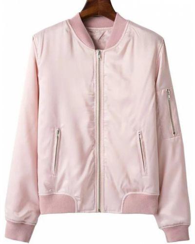 Куртка-пилот розовая с карманами Zaful