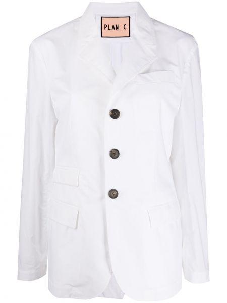 Однобортный белый пиджак с карманами Plan C
