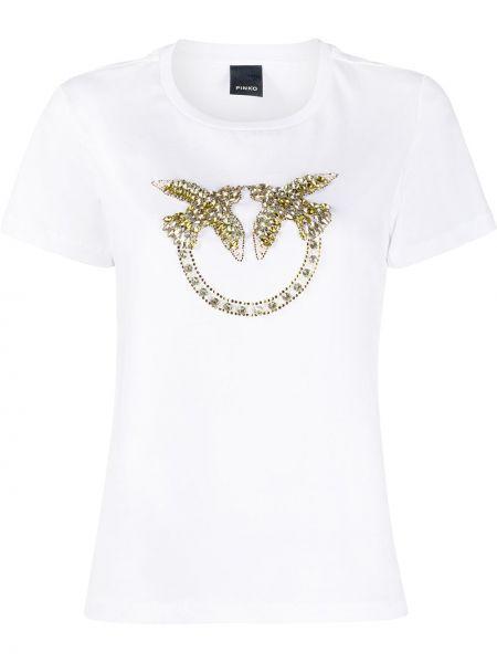 Прямая белая футболка с вырезом Pinko