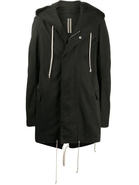 Czarny płaszcz z kapturem bawełniany Rick Owens Drkshdw