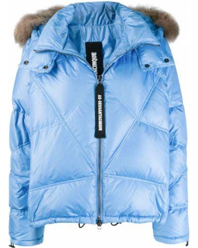 Прямая синяя стеганая куртка из искусственного меха As65