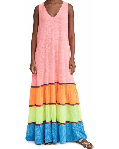 Трикотажное платье макси с декольте с вышивкой Pitusa