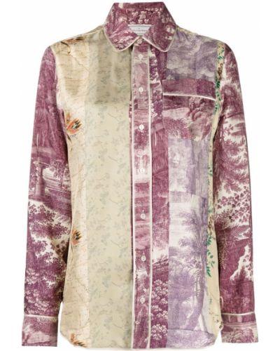 Фиолетовая шелковая рубашка с карманами Pierre-louis Mascia