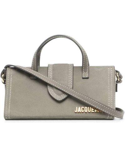 Золотистая кожаная серая сумка-тоут Jacquemus