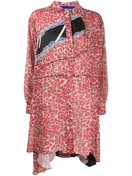 С рукавами ажурное красное платье макси Koché