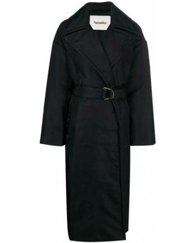 Czarny płaszcz Nanushka
