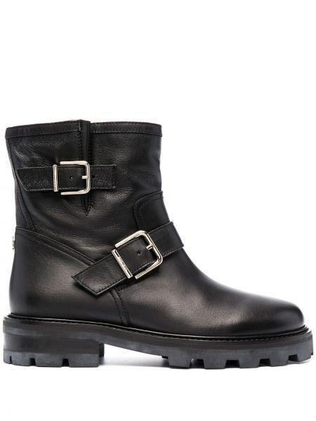 Czarny skórzany buty okrągły nos Jimmy Choo