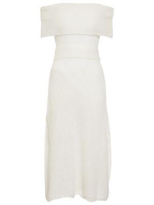 Шерстяное платье миди - белое Salvatore Ferragamo