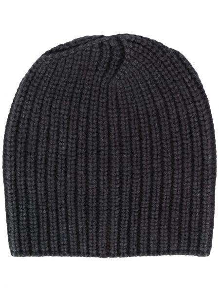 Кашемировая черная шапка бини эластичная Iris Von Arnim