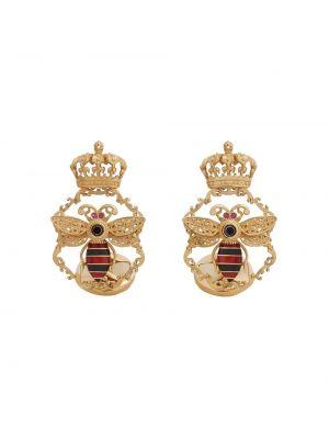 Золотистые с ромбами черные запонки с бриллиантом Dolce & Gabbana