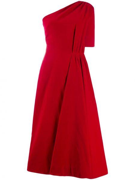 Хлопковое красное платье миди на одно плечо с короткими рукавами Emilia Wickstead