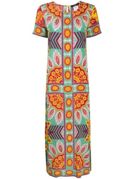 Шелковое платье мини с вырезом с короткими рукавами круглое Weekend Max Mara