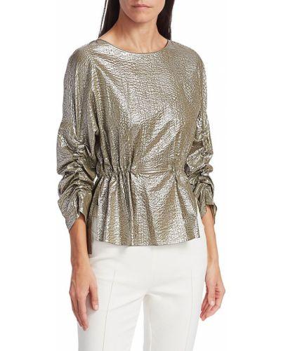 Серебряная с кулиской хлопковая блузка Akris Punto