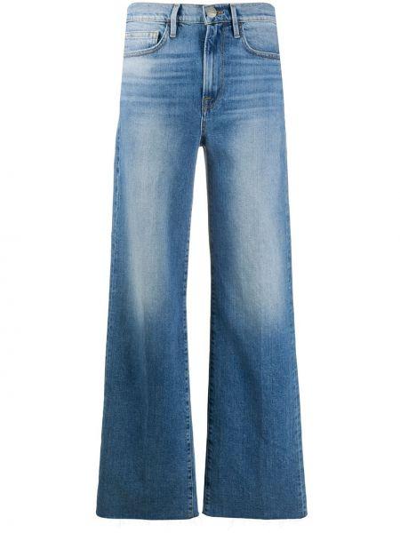 Синие деловые широкие джинсы свободного кроя со складками Frame