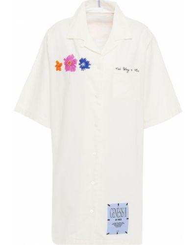 Хлопковое бежевое платье рубашка с вышивкой Mcq Alexander Mcqueen