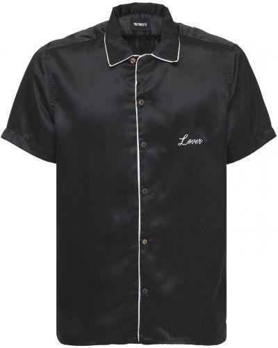 Satynowa czarna koszula z haftem The People Vs