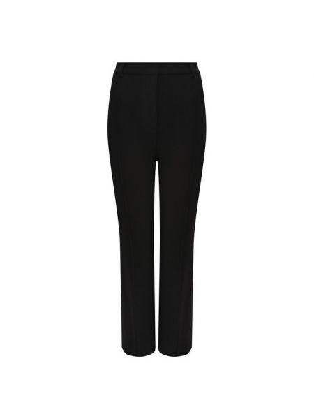 Шерстяные черные расклешенные со стрелками укороченные брюки Brandon Maxwell