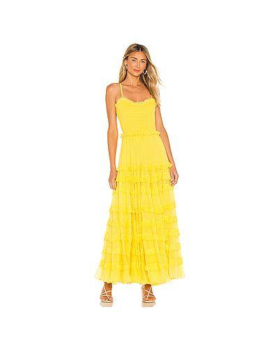 Желтое платье макси на бретелях из вискозы с подкладкой Majorelle