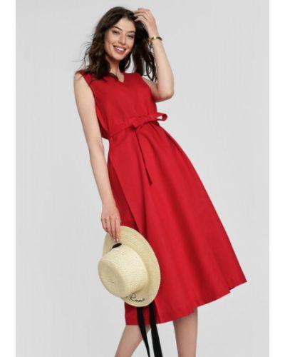Красное платье А-силуэта с поясом без рукавов Ostin