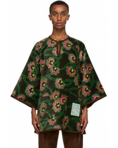 Zielony z rękawami koszula z kołnierzem z kieszeniami Gucci