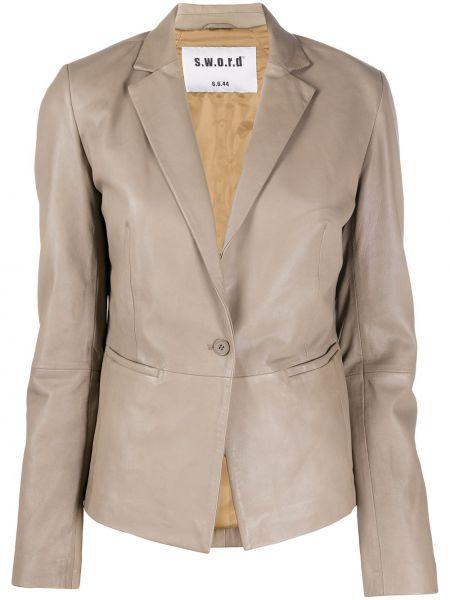 Прямой кожаный классический пиджак с карманами S.w.o.r.d 6.6.44