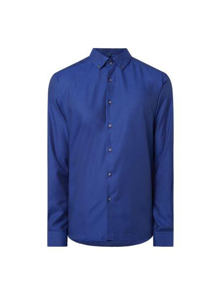 Niebieski bawełna bawełna z rękawami koszula oxford Eterna