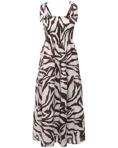 Льняное коричневое платье с подкладкой Faithfull The Brand