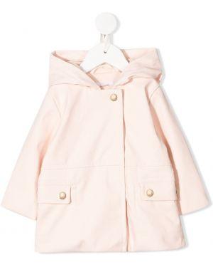 Różowy płaszcz z kapturem bawełniany Chloé Kids