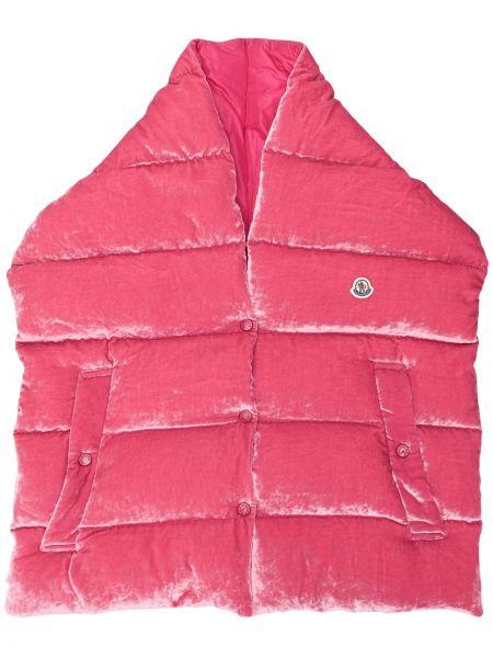 Бархатная розовая стеганая жилетка с карманами в рубчик Moncler