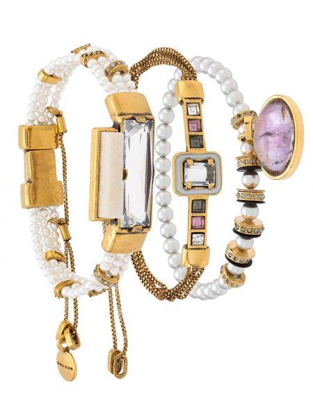 Bransoletka ze złota z perłami metal Camila Klein