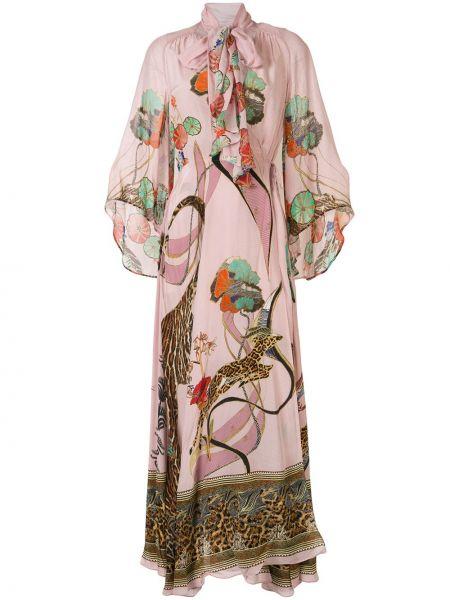 Шелковое платье мини - розовое Camilla