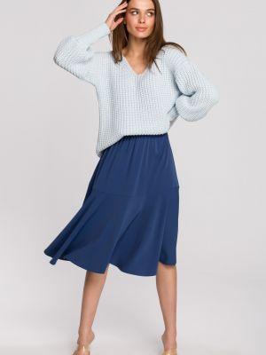 Niebieska spódnica materiałowa na co dzień Stylove