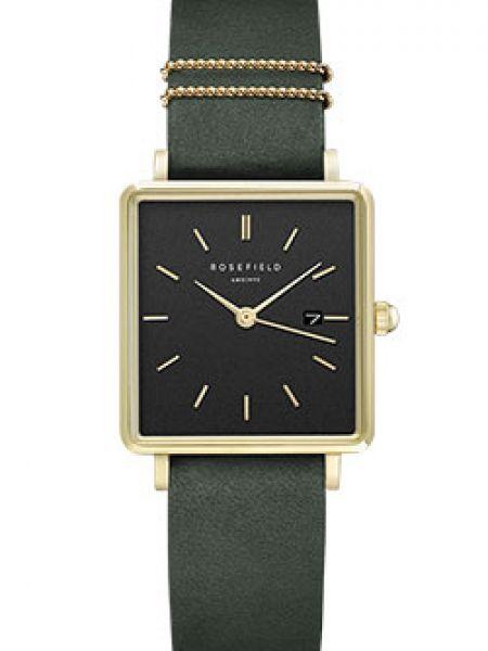 Часы на кожаном ремешке кварцевые зеленый Rosefield