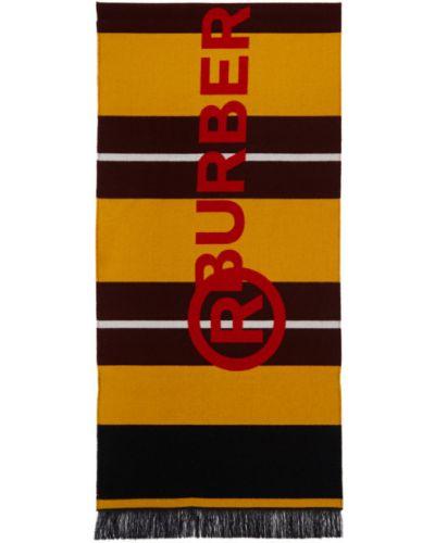 Белый шелковый шарф в полоску Burberry