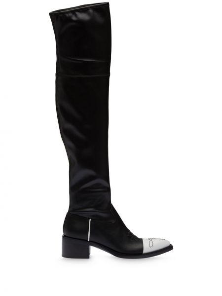 Skórzany biały buty na pięcie w połowie kolana na pięcie Miu Miu