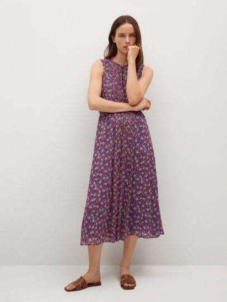 Расклешенное розовое платье миди без рукавов Mango