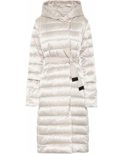 Текстильное белое стеганое пальто с поясом Max Mara