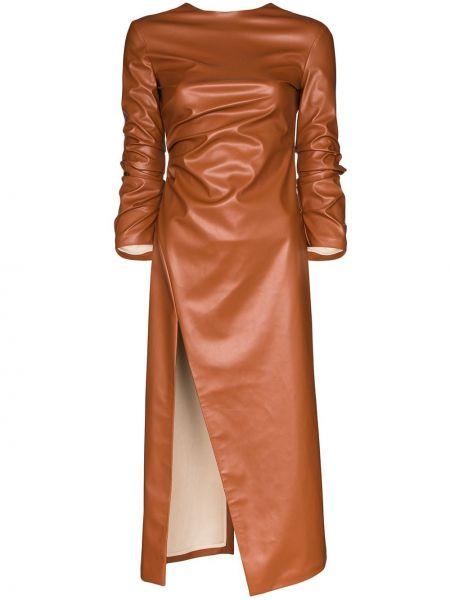 Платье миди с открытой спиной кожаное A.w.a.k.e. Mode