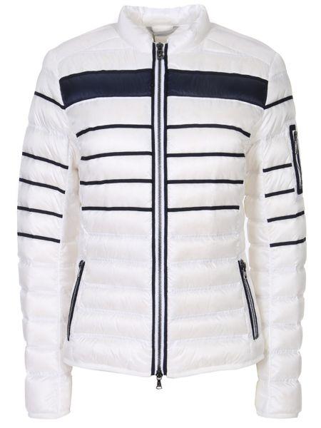 Приталенная теплая белая утепленная куртка на молнии Bogner
